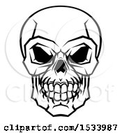 Clipart Of A Black And White Human Skull Royalty Free Vector Illustration by AtStockIllustration