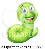 Clipart Of A Happy Green Worm Royalty Free Vector Illustration by AtStockIllustration