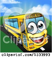 Happy Yellow School Bus Character On A Road