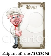 Chef Pig Giving A Thumb Up Around A Menu Board