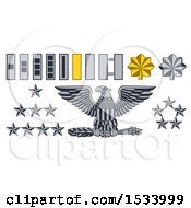 Clipart Of Military American Army Officer Rank Badges Royalty Free Vector Illustration