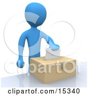 Blue Person Putting Their Voting Envelope In A Ballot Box During A Presidential Election