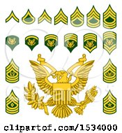 Clipart Of Military American Enlisted Rank Badges Royalty Free Vector Illustration