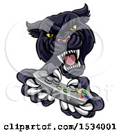 Clipart Of A Black Panther Using A Video Game Controller Royalty Free Vector Illustration by AtStockIllustration