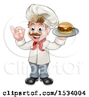 White Male Chef Gesturing Ok And Holding A Cheeseburger On A Tray