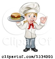 Clipart Of A Happy White Female Chef Gesturing Ok And Holding A Cheese Burger On A Tray Royalty Free Vector Illustration