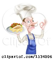 White Male Chef With A Curling Mustache Holding A Souvlaki Kebab Sandwich And French Fries On A Tray