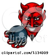 Clipart Of A Grinning Evil Red Devil Holding Out A Bowling Ball In A Clawed Hand Royalty Free Vector Illustration