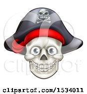 Clipart Of A Pirate Skull Wearing A Hat Royalty Free Vector Illustration