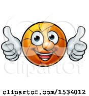 Clipart Of A Basketball Character Holding Two Thumbs Up Royalty Free Vector Illustration