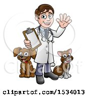 Cartoon Happy May Veterinarian Waving And Holding A Clipboard With A Dog And Cat