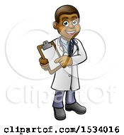 Poster, Art Print Of Full Length Friendly Black Male Doctor Holding A Clipboard