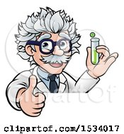 Clipart Of A Cartoon Senior Male Scientist Giving A Thumb Up And Holding A Test Tube Over A Sign Royalty Free Vector Illustration