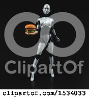 Clipart Of A 3d Feminine Robot Holding A Burger On A Black Background Royalty Free Illustration