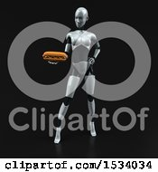 Clipart Of A 3d Feminine Robot Holding A Hot Dog On A Black Background Royalty Free Illustration