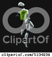 Clipart Of A 3d Feminine Robot Holding A Recycle Bin On A Black Background Royalty Free Illustration