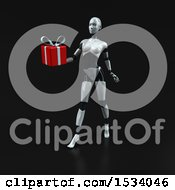 Clipart Of A 3d Feminine Robot Holding A Gift On A Black Background Royalty Free Illustration