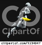 Clipart Of A 3d Feminine Robot Holding A Banana On A Black Background Royalty Free Illustration