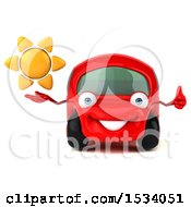 Poster, Art Print Of 3d Red Car Holding A Sun On A White Background