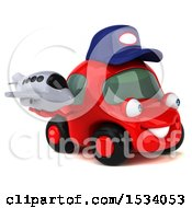 Clipart Of A 3d Red Mechanic Car Holding A Plane On A White Background Royalty Free Illustration
