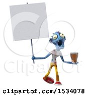 Clipart Of A 3d Blue Zombie Holding A Beer On A White Background Royalty Free Illustration