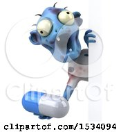 Clipart Of A 3d Blue Zombie Holding A Pill On A White Background Royalty Free Illustration