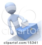 Pale Blue Person Putting Their Voting Envelope In A Ballot Box During A Presidential Election Clipart Illustration Image