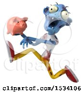 Clipart Of A 3d Blue Zombie Holding A Piggy Bank On A White Background Royalty Free Illustration