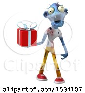 Clipart Of A 3d Blue Zombie Holding A Gift On A White Background Royalty Free Illustration