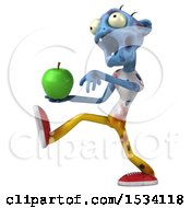 Clipart Of A 3d Blue Zombie Holding An Apple On A White Background Royalty Free Illustration
