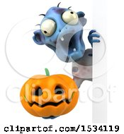 Clipart Of A 3d Blue Zombie Holding A Halloween Pumpkin On A White Background Royalty Free Illustration