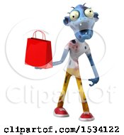 3d Blue Zombie Holding A Shopping Bag On A White Background