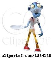 Clipart Of A 3d Blue Zombie Holding A Plate On A White Background Royalty Free Illustration
