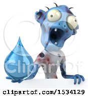 Clipart Of A 3d Blue Zombie Holding A Water Drop On A White Background Royalty Free Illustration