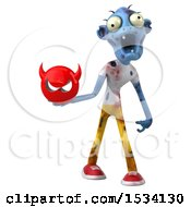 Clipart Of A 3d Blue Zombie Holding A Devil On A White Background Royalty Free Illustration