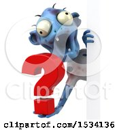 Clipart Of A 3d Blue Zombie Holding A Question Mark On A White Background Royalty Free Illustration