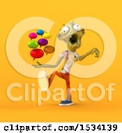 3d Zombie Holding Messages On A Yellow Background