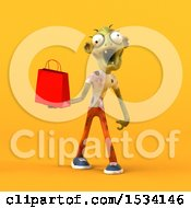 3d Zombie Holding A Shopping Bag On A Yellow Background