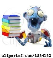 Clipart Of A 3d Blue Zombie Holding Books On A White Background Royalty Free Illustration