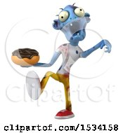 Clipart Of A 3d Blue Zombie Holding A Donut On A White Background Royalty Free Illustration