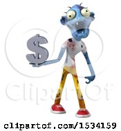 Clipart Of A 3d Blue Zombie Holding A Dollar Sign On A White Background Royalty Free Illustration