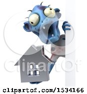 Clipart Of A 3d Blue Zombie Holding A House On A White Background Royalty Free Illustration