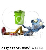 Clipart Of A 3d Blue Zombie Holding A Recycle Bin On A White Background Royalty Free Illustration