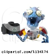 Clipart Of A 3d Blue Zombie Holding A Camera On A White Background Royalty Free Illustration