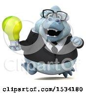 3d White Business Monkey Yeti Holding A Light Bulb On A White Background