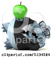 Poster, Art Print Of 3d White Business Monkey Yeti Holding An Apple On A White Background