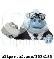 Poster, Art Print Of 3d White Business Monkey Yeti Holding A Cloud On A White Background