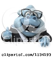 Poster, Art Print Of 3d White Business Monkey Yeti Holding A Thumb Up On A White Background