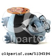 Poster, Art Print Of 3d White Business Monkey Yeti Holding A Pizza On A White Background