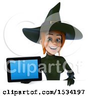 Clipart Of A 3d Sexy Green Witch Holding A Tablet On A White Background Royalty Free Illustration